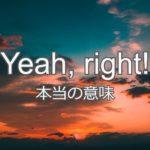 【皮肉】Yeah, right! の本当の意味とは?発音付き例文で解説