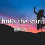 That's the spirit! の意味と使い方は?発音付き例文で解説